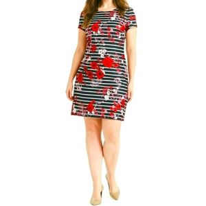 Adrianna Papell Striped and Floral Scuba m…